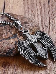 Муж. Ожерелья с подвесками Заявление ожерелья Кристалл Круглый В форме звезды Крестообразной формы Крылья / Перья Нержавеющая сталь