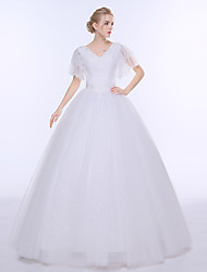Ball Gown Wedding Dress Floor-length V-neck Tulle with Beading