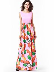 Для женщин Для праздника / вечеринки На выход Пляж Секси Винтаж Богемный Оболочка Платье Цветочный принт Мода,Круглый вырез МаксиБез