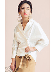 EVEN THOUGHWomen's Daily Casual Simple ShirtSolid Shirt Collar Long Sleeve Cotton