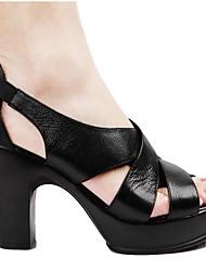 Для женщин Обувь Кожа Наппа Leather Весна Обувь на каблуках Назначение Черный Бежевый Цвет экрана