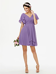A-Line V-neck Short / Mini Chiffon Bridesmaid Dress with Criss Cross Pleats Side-Draped by LAN TING BRIDE®
