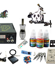 Begginer Tattoo Kit 1 Machine With Digital Power Cord Inks Switch G1C15A7