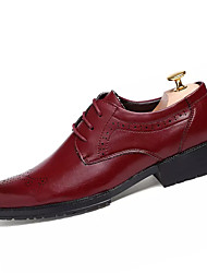 Men's Shoes PU All Seasons Classic & Timeless Fashion Oxfords Lace-up For Wedding Party/Evening Business Daily Black Burgundy