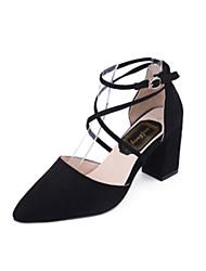 Для женщин Сандалии Удобная обувь Полиуретан Лето Удобная обувь На толстом каблуке Черный Серый Розовый 7 - 9,5 см