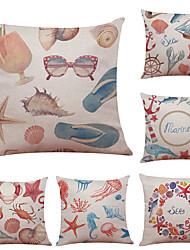 Set of 6 Mediterranean Style Pattern Linen Pillowcase Sofa Home Decor Cushion Cover  Throw Pillow Case (18*18inch)
