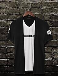 Tee-shirt Homme,Couleur Pleine Bureau/Carrière Quotidien Décontracté simple Actif Eté Manches Courtes Col en V Coton Moyen
