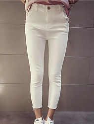 Women's High Waist strenchy Straight Pants,Simple Pencil Solid