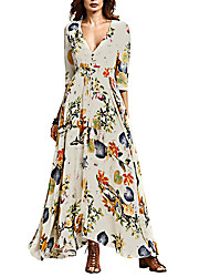 Women's Going out Beach Party Boho Swing Dress,Floral Deep V Maxi ¾ Sleeve Polyester Summer High Rise Micro-elastic Medium
