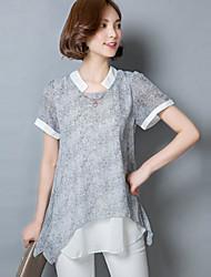 Feminino Camiseta Casual SofisticadoEstampa Colorida Outros Colarinho Chinês Manga Curta