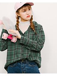 Tee-shirt Femme,Rayé Décontracté / Quotidien simple Manches Longues Asymétrique Coton