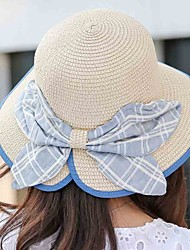 Women Beach Summer Casual Cloth bow Dome Holiday Fold Straw Hat