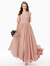 A-Line Spaghetti Straps Floor Length Chiffon Bridesmaid Dress with Bow(s) Sash / Ribbon Ruching Pleats by LAN TING BRIDE®