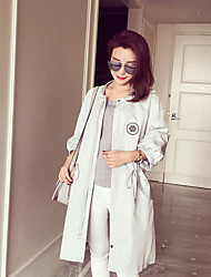 Women's Casual/Daily Simple Spring Coat,Solid Round Neck Long Sleeve Long Polyester