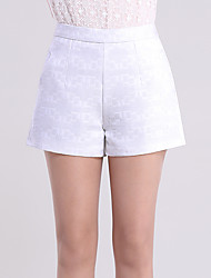 Women's High Rise Micro-elastic Shorts Pants,Simple Wide Leg Pure Color Jacquard Solid