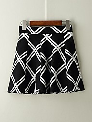 Women's Mid Rise Above Knee Skirts Pencil Houndstooth