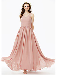 2017 LAN TING BRIDE Floor-length V-neck Bridesmaid Dress - Open Back Elegant Sleeveless Chiffon