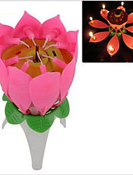 Musical Single Layer Lotus Flower Birthday Party Cake Topper Candle Lights