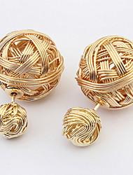 Euramerican Classic Luxury Gold Metal Double Balls Stud Earrings Lady Business Stud Earrings Gift Jewelry