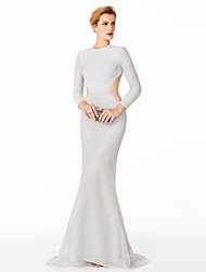 TS Couture Formal Evening Dress - Open Back Sexy Celebrity Style Trumpet / Mermaid Jewel Sweep / Brush Train Roman Knit with Pleats