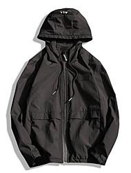 Men's Daily Modern/Comtemporary Spring Jacket,Solid Letter Hooded Long Sleeve Regular Polyester