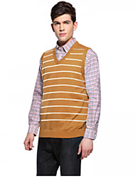U&Shark Men's Yellow-White Stripes Casual Business V-Neck Vest /bx-33