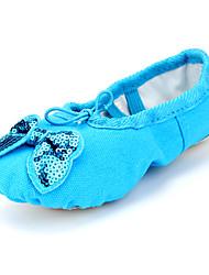 Non Customizable Kids' Ballet Canvas Flats Indoor Bow(s) Flat Heel Blushing Pink Blue Green Ruby Fuchsia