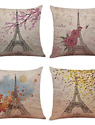 """conjunto de 4 paris eiffel torre linho lençóis decorativos quadrados decorativos de sofá do escritório doméstico (18 """"* 18"""")"""