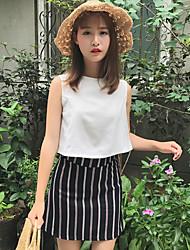 Damen Gestreift Röcke Normal Shirt Rock Anzüge,Rundhalsausschnitt Sommer Ärmellos