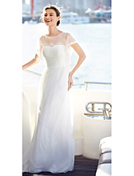LAN TING BRIDE A-line Wedding Dress Simply Sublime Floor-length Jewel Lace Tulle with Draped Lace