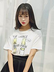 Damen Druck Niedlich Ausgehen T-shirt,Rundhalsausschnitt Sommer Kurzarm Polyester