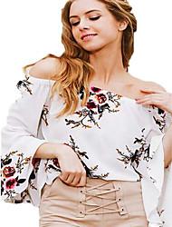 Tee-shirt Femme,Imprimé Décontracté / Quotidien simple Eté Manches Courtes Epaules Dénudées Coton