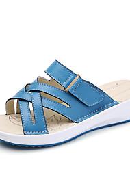 Feminino Sandálias Sandálias e chinelos Conforto Couro Verão Outono Diário Social Casual Sandálias e chinelos Conforto Salto BaixoBranco