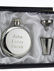 Personalized 3-pieces Stainless Steel Hip Flasks 5-oz  Flask Gift Set