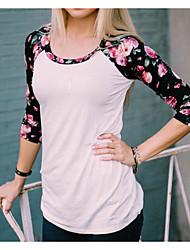 Damen Solide Einfach Alltag T-shirt,Rundhalsausschnitt 3/4 Ärmel Baumwolle