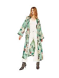 Veste en jean Femme,Pied-de-poule Décontracté / Quotidien Chic de Rue Sophistiqué Eté Col Arrondi Long Coton Viscose