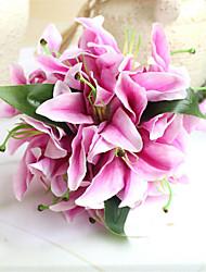 1Piece / Set 1 Rama Seda Plantas Lirios Flor de Mesa Flores Artificiales