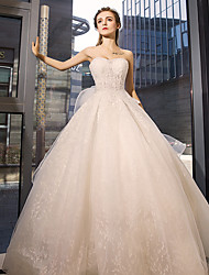 Ball Gown Jewel Neck Floor Length Tulle Wedding Dress with Crystal Appliques Lace by YUANFEISHANI