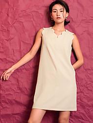 Ample Robe Femme Décontracté / QuotidienCouleur Pleine Asymétrique Au dessus du genou Sans Manches 90% Wool10% Polyester EtéTaille
