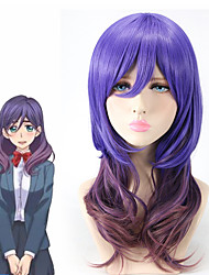 Violet Purple Ombre Hair Fashion Highlight Long Length Body Wave with Full Bang Cosplay Wig Heat Resistant Anime Custom Wig