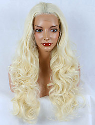 613# Blonde Synthetic Hair Lace Front Wigs Long Blonde Curly Full Wig For Women Heat Resistant