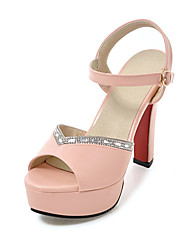 Damen High Heels Pumps PU Sommer Kleid Party & Festivität Pumps Strass Schnalle Blockabsatz Weiß Schwarz Beige Rosa 10 - 12 cm