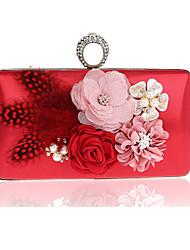 Damen Taschen Ganzjährig PVC Polyester Abendtasche mit Blume für Hochzeit Veranstaltung / Fest Formal Schwarz Silber Rote Rose Rot