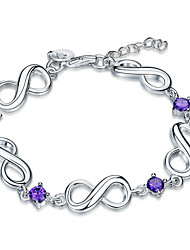 Exquisite Silver Plated Purple Square Crystal 8 Style Chain & Link Bracelets Jewellery for Women Accessiories