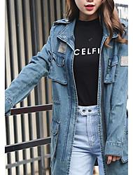 Veste en jean Femme,Couleur Pleine Décontracté / Quotidien simple Printemps Col de Chemise Long Coton
