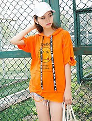 Damen Druck Niedlich T-shirt,Mit Kapuze Sommer ¾-Arm Baumwolle