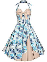 Balançoire Robe Femme Sortie Vintage,Fleur Licou Midi Sans Manches Coton Eté Taille Normale Non Elastique Moyen