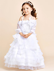 Princess Floor Length Flower Girl Dress - Organza Sleeveless Strap with Flower
