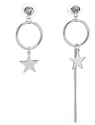 Drop Earrings Women's Girls' Euramerican Personalized Silver Round Star Drop Earrings  Party And Dailywear Movie Gift Statement Jewelry
