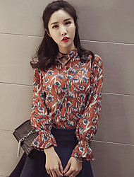 Women's Casual/Daily Simple Spring Summer Blouse,Floral Stand Long Sleeve Chiffon Thin
